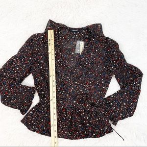 Madewell Tops - Madewell Silk Ruffle-Hem Wrap Top in Starry Night
